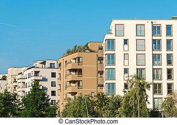 Housing area seen in Berlin, Germany - New housing area seen...