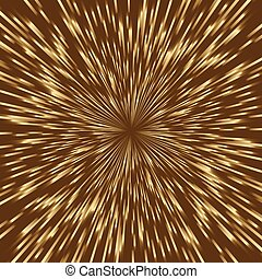 Stylized golden fireworks, light burst with the center in...