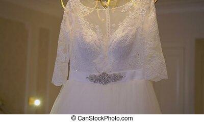 Wedding dress in bedroom - Wedding white dress in bedroom