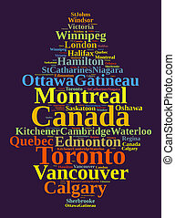Largest census metropolitan areas in Canada word cloud...