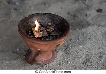 Religious censer with burning candle - Church holy religious...