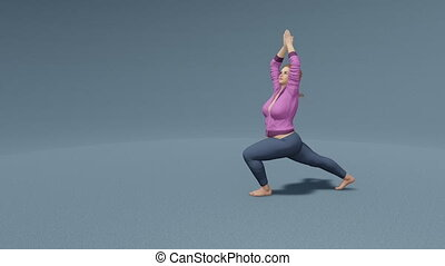 Full-figured woman warrior yoga pose loopable 4K - Young...