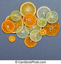 Healthy foods and medicine concept. Various citrus fruits...