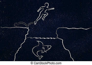 person jumpying over cliff with shark below