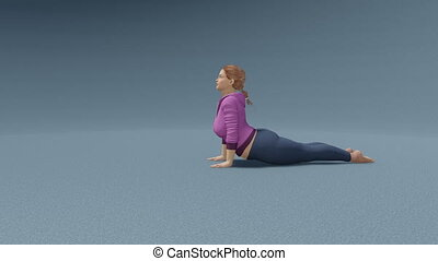 Plus size chubby woman in cobra pose yoga loop - Young...
