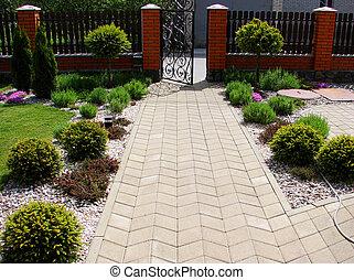 home garden - Reddening flowers in a home garden...