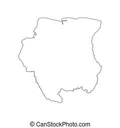 Suriname map silhouette on the white background. Vector...