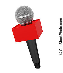 Microphone with Blank Box Isolated - Microphone with Blank...