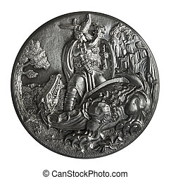 Pewter bas-relief The Song of the Nibelungs isolated on a...