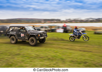 Off-road vehicles and motorcycle - Lviv, Ukraine - April 18,...