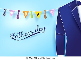Paper art style blue suit with neckties hanging string on sky. Fathers day background