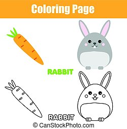 Coloring page with rabbit, bunny character. Educational game, printable drawing kids activity