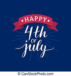 Vector Fourth of July hand lettering inscription for...