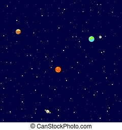 Planets in space. Solar system background