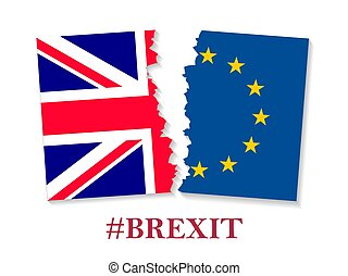 Brexit hashtag two parts of flags, metadata tag for social...