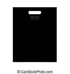 Vector plastic bag template isolated on background. Black...