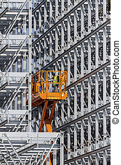 construction of a rack warehouse - a high-bay warehouse of a...