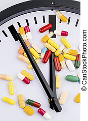 colorful capsules on dial - colorful capsules on a clock...