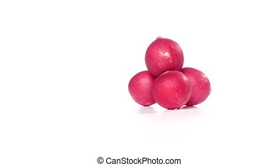 Freshly cut radish without leaves rotates on a twist. White...