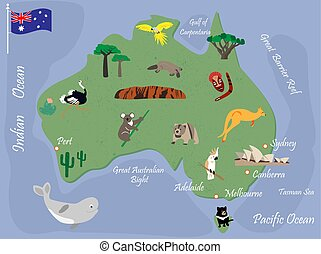 Map of Australia with wild animals and landmarks with animals and landmarks