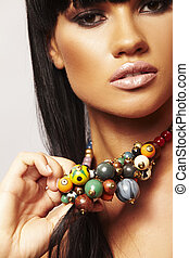 beutiful brunette with necklace - one young beutiful...