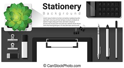 Stationery scene with office equipment background 2