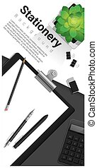 Stationery scene with office equipment background 3