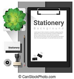 Stationery scene with office equipment background