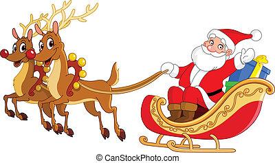 Santa sleigh - Santa riding his sleigh