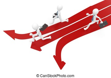 3d man race with multiple arrow paths isolated on white