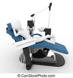 3d man with dentist chair isolated on white