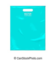 Vector plastic bag template isolated on background. Blue...