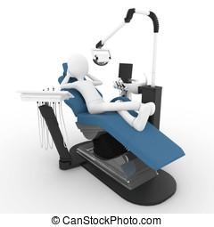 3D, 人, 歯科医, 椅子