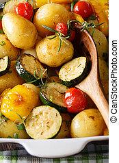 abobrinha, verão, pimenta,  vertical, sino, batatas, Novo,  close-up,  food:, ASSADO, tomates
