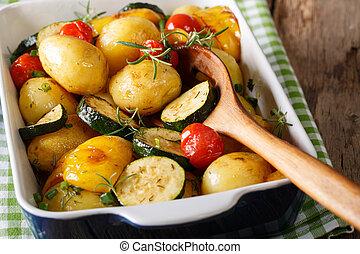 abobrinha, pimenta, temperado, sino, batatas,  close-up, horizontais, ASSADO, tomates