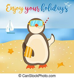 Bright enjoy your summer poster with penguin on the shore