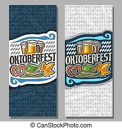 Vector vertical banners for Oktoberfest: 2 invite ticket on...