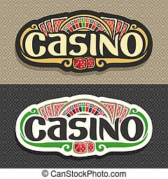 Vector logo for Casino club on geometric background:...