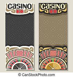 Vector vertical banners for Casino: 2 layouts with golden...