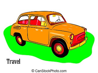 Yellow car for travel on green grass. Vector illustration.