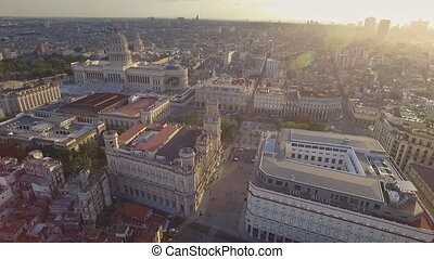 Urban Landscape Old Havana Drone Flying In The Sky - Drone...