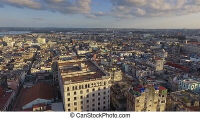 Aerial View Urban Landscape Old Havana Cuba Drone Flying -...