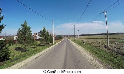 Road in the cottage village - Dynamic panorama of the road...