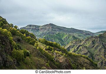 beautyfull Green Caucasus Mountains on foggy sky - beautyful...