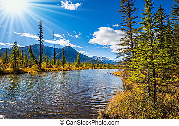 Sunset on the Vermilion Lakes in Rocky Mountains - Gorgeous...