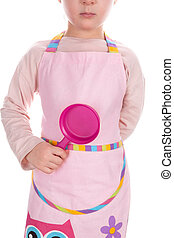 Young chef. Dreamjob. - Young chef girl holding frying pan...
