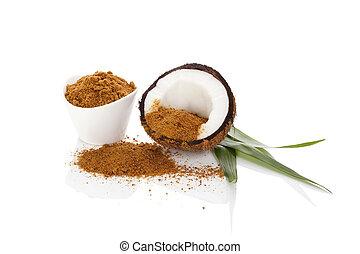 Coconut sugar background. Healthy sugar alternative. Coconut...