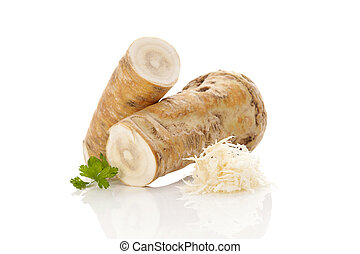 Horseradish root. - Horseradish root and grated horseradish...