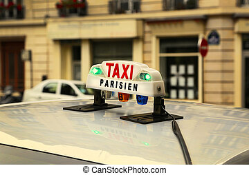 Sign of Parisian taxi
