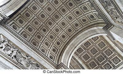 Closeup of the Arc de Triomphe in Paris, France - Elements...